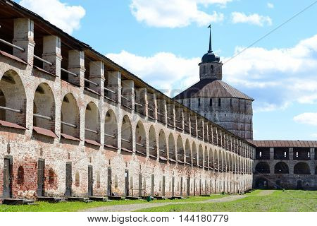 Fortress tower and wall of Kirillo-Belozersky monastery by day near City Kirillov Vologda region Russia.