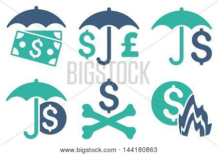 Financial Umbrella vector icons. Pictogram style is bicolor cobalt and cyan flat icons with rounded angles on a white background.