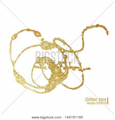 Gold glitter blot on white background. Vector illustration.