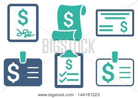 Payment Cheque vector icons. Pictogram style is bicolor cobalt and cyan flat icons with rounded angles on a white background.
