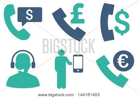 Phone Order vector icons. Pictogram style is bicolor cobalt and cyan flat icons with rounded angles on a white background.