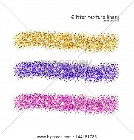 Glitter texture colorful line set on white background. Vector illustration.