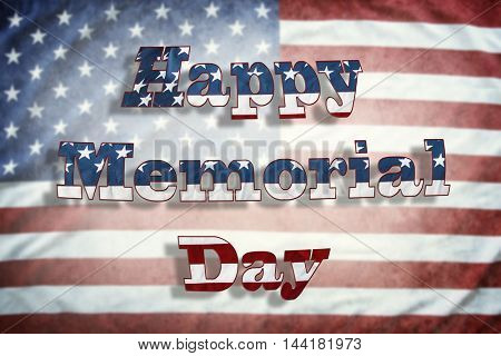 Happy Memorial Day wording on American flag