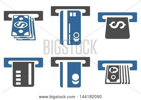 ATM Bank Cashout vector icons. Pictogram style is bicolor cobalt and gray flat icons with rounded angles on a white background.