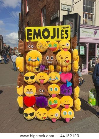 HEREFORD, UK - APRIL 02, 2016: Emoji expressions for sale as cushions in Hereford town centre, Hereford, Herefordshire, UK