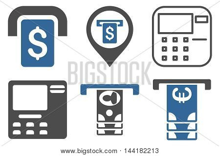 ATM Terminal vector icons. Pictogram style is bicolor cobalt and gray flat icons with rounded angles on a white background.