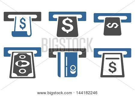 ATM Withdraw vector icons. Pictogram style is bicolor cobalt and gray flat icons with rounded angles on a white background.