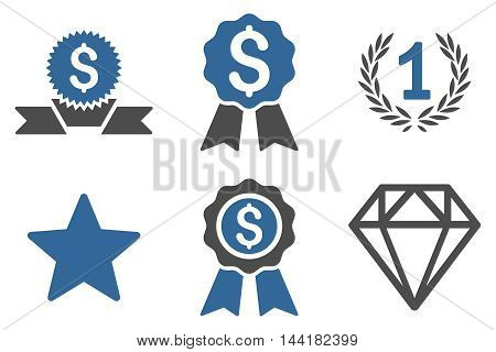 Award vector icons. Pictogram style is bicolor cobalt and gray flat icons with rounded angles on a white background.