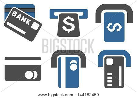 Bank ATM vector icons. Pictogram style is bicolor cobalt and gray flat icons with rounded angles on a white background.
