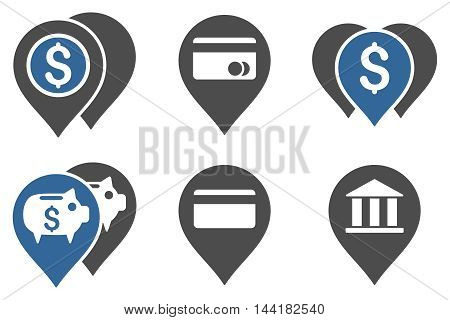 Bank Map Markers vector icons. Pictogram style is bicolor cobalt and gray flat icons with rounded angles on a white background.