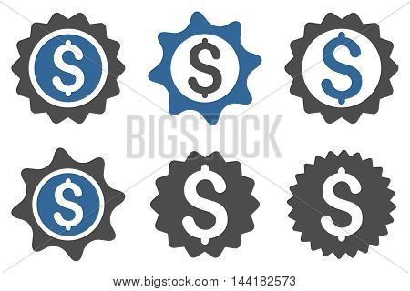 Bank Seal vector icons. Pictogram style is bicolor cobalt and gray flat icons with rounded angles on a white background.