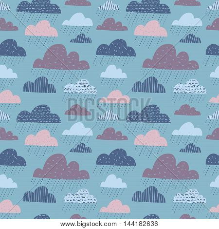 Cute funny clouds with raindrops seamless pattern