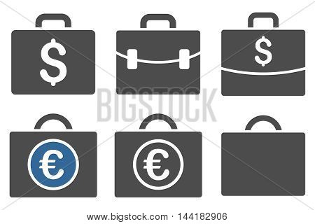 Business Case vector icons. Pictogram style is bicolor cobalt and gray flat icons with rounded angles on a white background.
