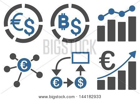Business Charts vector icons. Pictogram style is bicolor cobalt and gray flat icons with rounded angles on a white background.