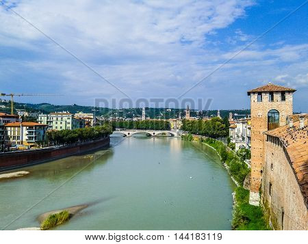 Hdr River Adige Panorama In Verona