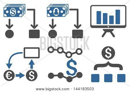 Cashflow Charts vector icons. Pictogram style is bicolor cobalt and gray flat icons with rounded angles on a white background.