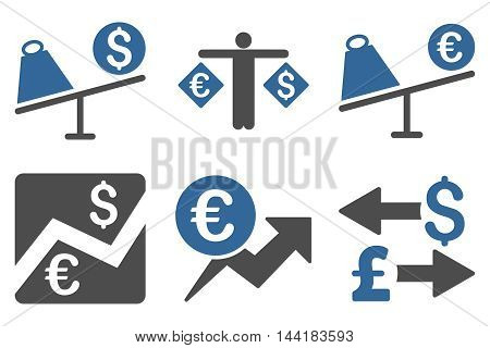 Currency Trading vector icons. Pictogram style is bicolor cobalt and gray flat icons with rounded angles on a white background.
