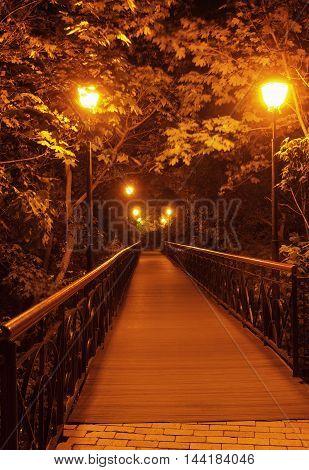 The Lover's Bridge in Mariyinsky Park in the evening Kiev Ukraine