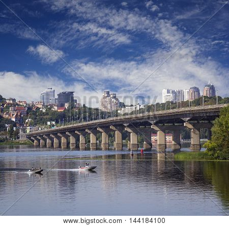A beautiful citycape with view on Paton's bridge in Kiev Ukraine