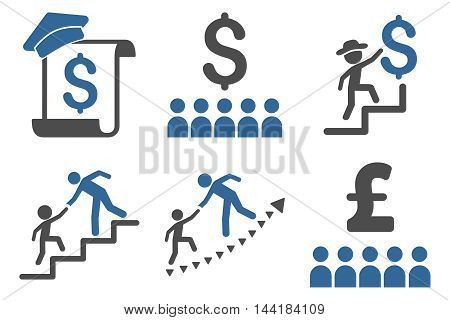 Financial Education vector icons. Pictogram style is bicolor cobalt and gray flat icons with rounded angles on a white background.