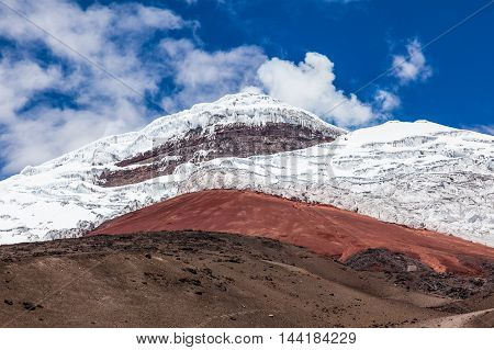 Cotopaxi volcano closed view of red sand the rock wall