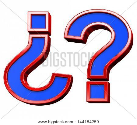 Question mark sign from blue with red frame alphabet set, isolated on white. 3D illustration.