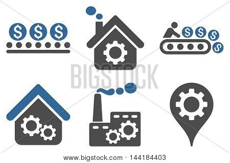 Industrial Production vector icons. Pictogram style is bicolor cobalt and gray flat icons with rounded angles on a white background.