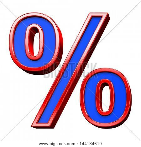 Percent sign from blue with red frame alphabet set, isolated on white. 3D illustration.