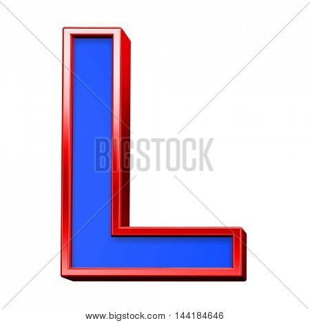 One letter from blue with red frame alphabet set, isolated on white. 3D illustration.