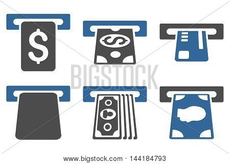 Payment Terminal vector icons. Pictogram style is bicolor cobalt and gray flat icons with rounded angles on a white background.