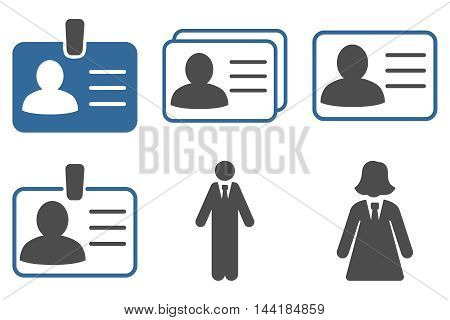 Person Account Card vector icons. Pictogram style is bicolor cobalt and gray flat icons with rounded angles on a white background.