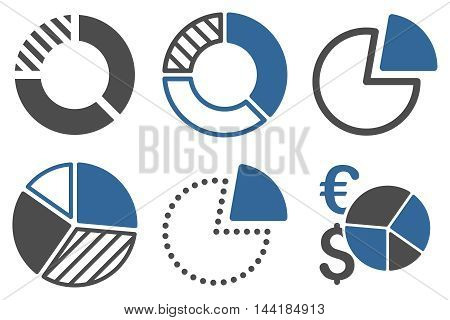 Pie Chart vector icons. Pictogram style is bicolor cobalt and gray flat icons with rounded angles on a white background.