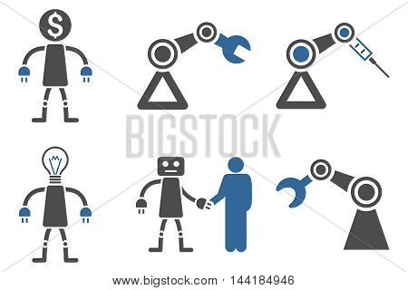 Robot vector icons. Pictogram style is bicolor cobalt and gray flat icons with rounded angles on a white background.