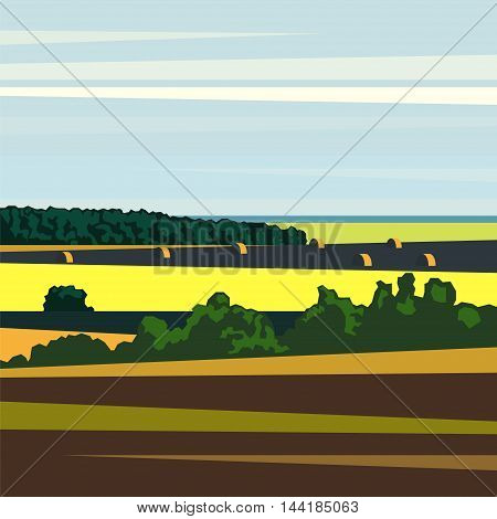 Rural landscape in the geometric style with trees fields and haystacks. Vector landscape.