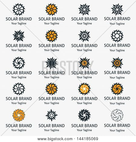 Set of solar labels. Stylized icons of the sun.