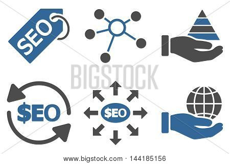 Seo Marketing vector icons. Pictogram style is bicolor cobalt and gray flat icons with rounded angles on a white background.