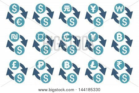 All Currency Exchange vector icons. Pictogram style is bicolor cyan and blue flat icons with rounded angles on a white background.