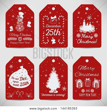 Vector set of six Christmas labels. Vector illustration.