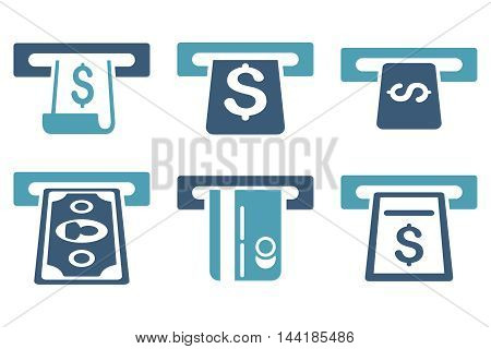 ATM Withdraw vector icons. Pictogram style is bicolor cyan and blue flat icons with rounded angles on a white background.