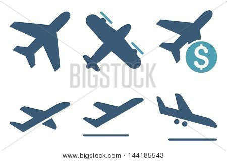 Aviation vector icons. Pictogram style is bicolor cyan and blue flat icons with rounded angles on a white background.