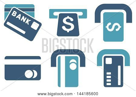 Bank ATM vector icons. Pictogram style is bicolor cyan and blue flat icons with rounded angles on a white background.
