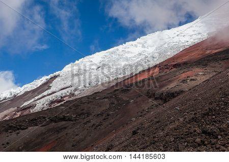 Glaciers and sandbanks of volcano Cotopaxi, Ecuadorian Andes