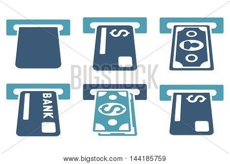 Banking ATM vector icons. Pictogram style is bicolor cyan and blue flat icons with rounded angles on a white background.