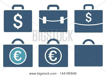 Business Case vector icons. Pictogram style is bicolor cyan and blue flat icons with rounded angles on a white background.