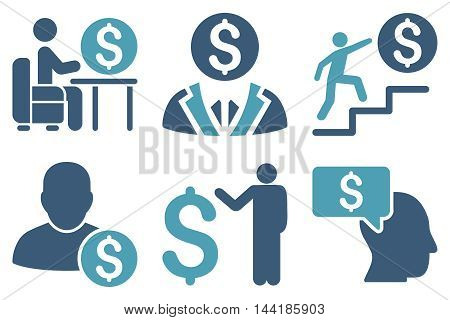 Businessman vector icons. Pictogram style is bicolor cyan and blue flat icons with rounded angles on a white background.