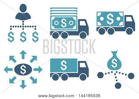 Cash Delivery vector icons. Pictogram style is bicolor cyan and blue flat icons with rounded angles on a white background.
