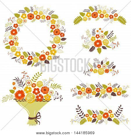 Vector fall floral collection with wreath and bouquets