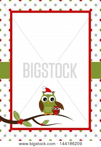 Christmas card with owl and polka dot background