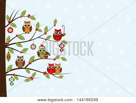 Christmas owls card with space for your text