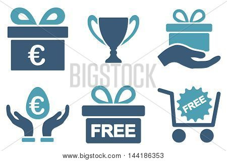 Gift vector icons. Pictogram style is bicolor cyan and blue flat icons with rounded angles on a white background.